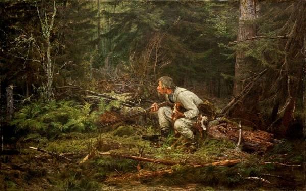 Охотник 1874 холст, масло