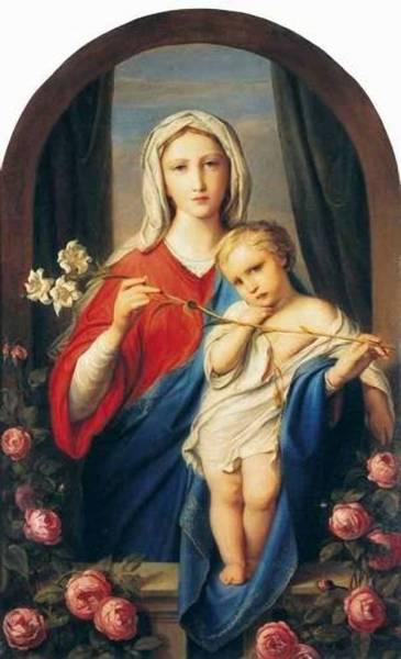 Богоматерь с младенцем в розах