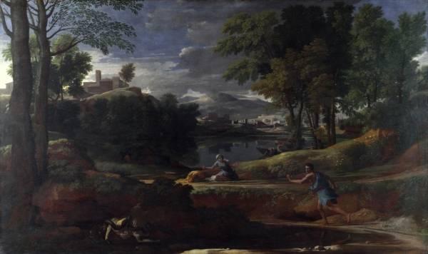 Пейзаж с мужчиной, ужаленным змеёй (1648) (Лондон, Национальная галерея)