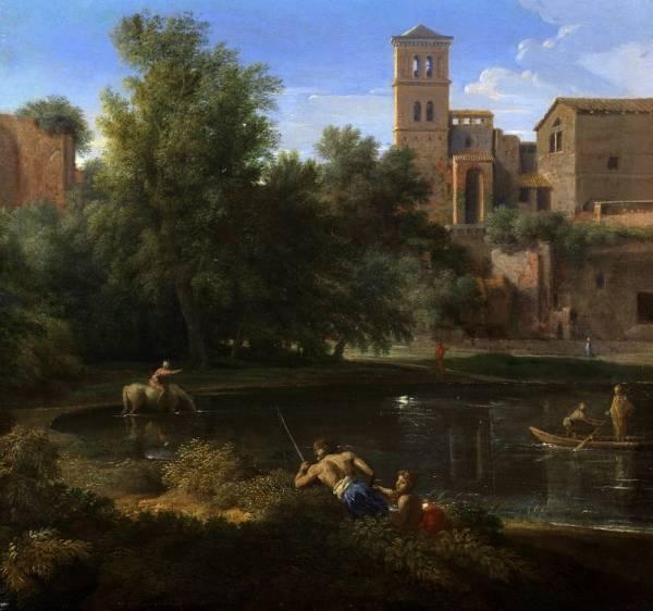 Пейзаж с замком и прудом  (1642-1665) (36,5 х 40) (частная коллекция)
