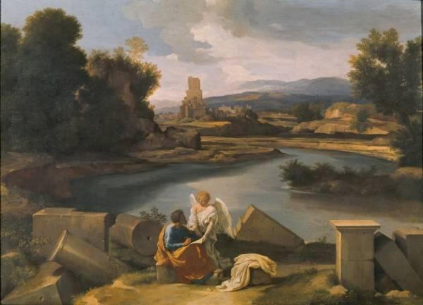 Пейзаж со св.Матфеем и ангелом (ок.1645)