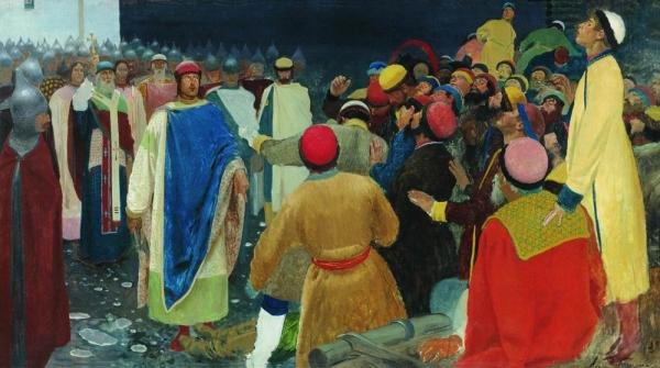 Князь Глеб Святославович убивает волхва на Новгородском вече (Княжий суд)