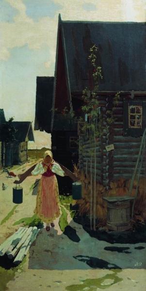 В деревне. Девушка с ведрами