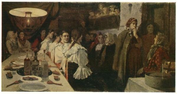 В ожидании молодоженов из церкви. 1891