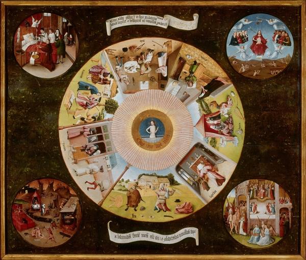 Семь смертных грехов (столешница) (1480-1485) (120 х 150) (Прадо, Мадрид)