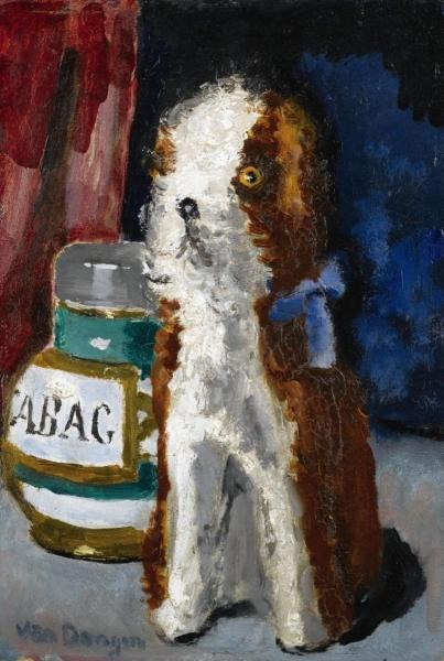 Собака с голубой ленточкой и банка с надписью Табак