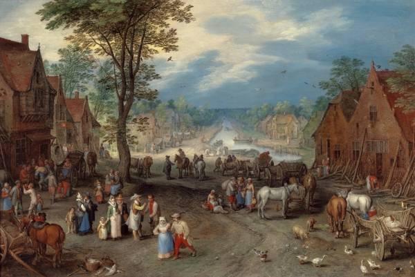 Деревенская сцена с каналом, 1609
