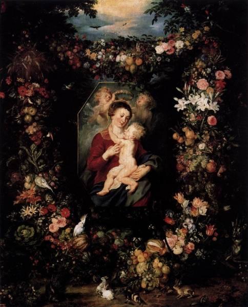 Дева и младенец, окруженные цветами и фруктами, вторая половина 17 в