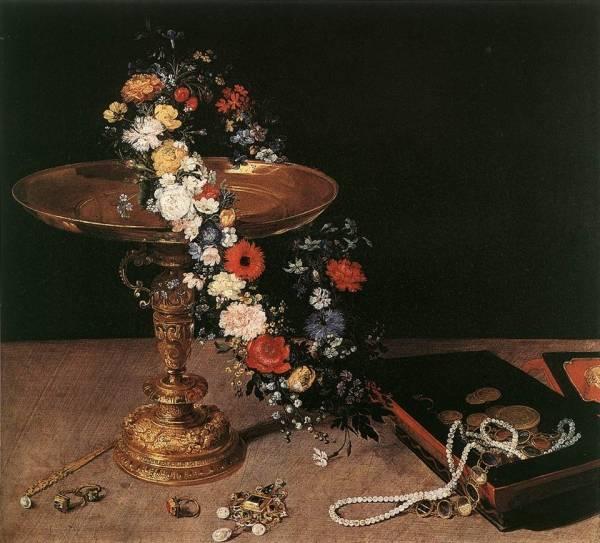 Натюрморт с гирляндой из цветов, 1618