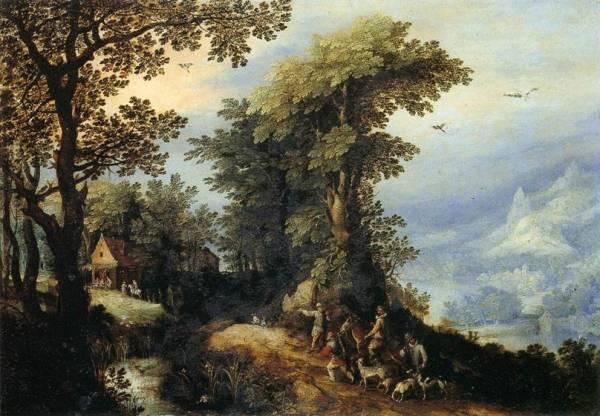 Пейзаж с охотниками, 1594-1595