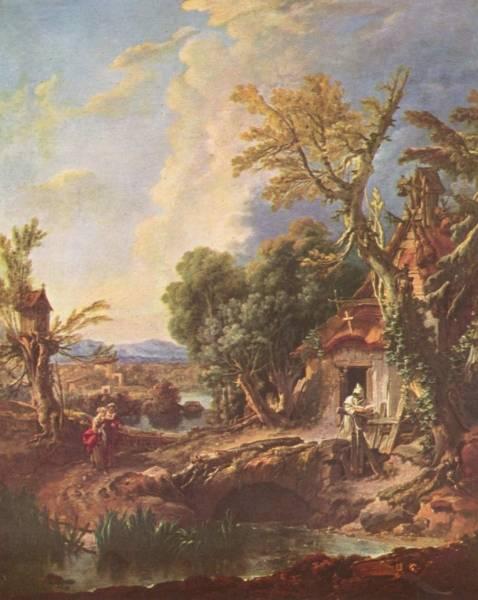 Пейзаж с братом Лукой, около 1750