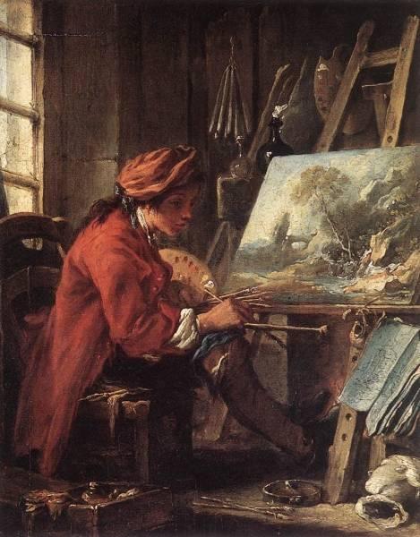 Художник в мастерской, автопортрет, около 1720