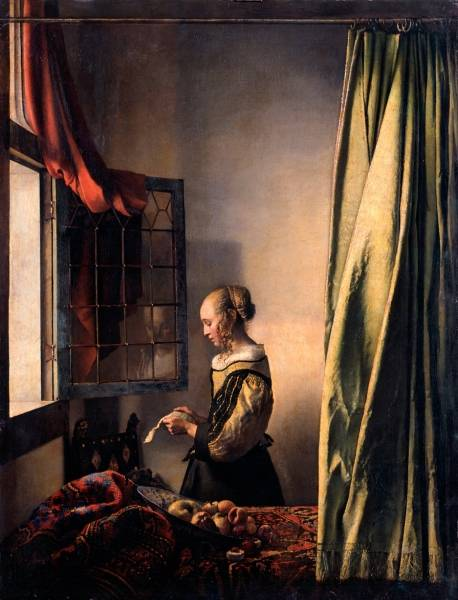 Девушка,читающая письмо у открытого окна