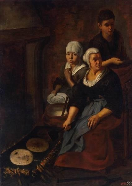 Выпечка лепешок, 1645-1650