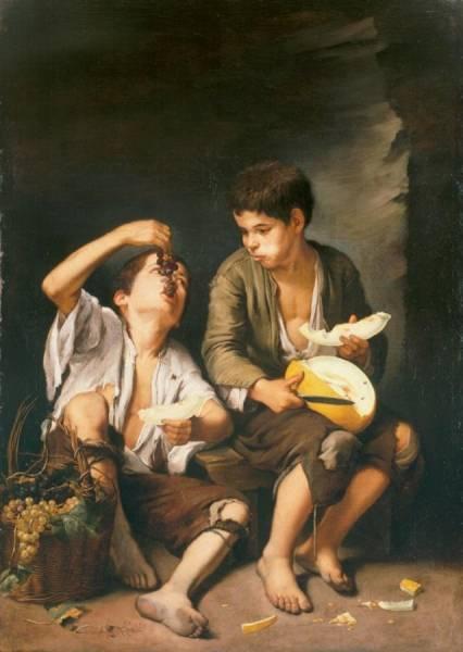 Мальчики, поедающие виноград и дыню