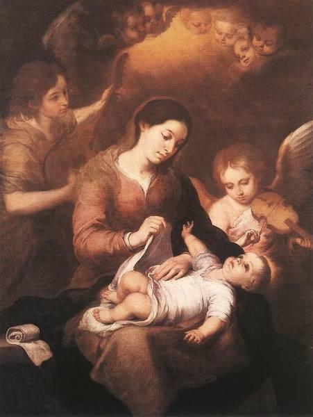 Мария с младенцем и ангелом, играющим музыку