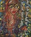 Картина Abstract painting faces Oil on canvas Екатерина Лебедева художница