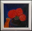Кот и хризантемы