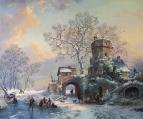 Вольная копия Фредерик Маринус Круземан Зимний вечер с фигурами на льду