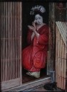 Японка в красном кимоно