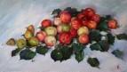 Яблоки,груши и веточка липы.