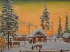 Утро в деревне. Зима
