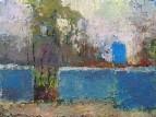 Пейзаж с голубой дверью