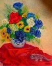 Синие розы и хамельон.1999.х.м.50х40