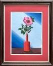 Цветок в красной вазе.
