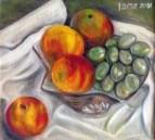 Персики и виноград.2001.хм.24,5х27,5.