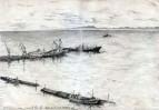 Вид на залив Анива с пирсами, остров Сахалин