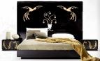 Кожаное мозаичное панно для спальни (проект)