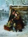 Маленькие шарманщики у забора зимой. 1868