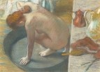 Женщина, моющая спину в тазу