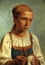Крестьянская девушка за вышиванием