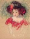 Марго в большой шляпе и красном платье
