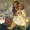 Портрет Ярославы и Джири - детей художника 1919
