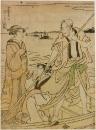 Цунагоро управляет лодкой с двумя дамами