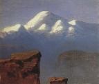 Вершина Эльбруса, освещенная солнцем. 1898-1908