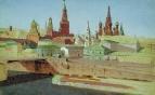 Вид на Москворецкий мост, Кремль и храм Василия Блаженного. 1882