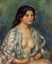 Габриэль в расстегнутой блузе
