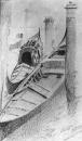 Две гондолы на причале. Вид из окна мастерской М.А.Врубеля в Венеции. 1885.