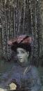 Портрет Н.И.Забелы-Врубель на фоне березок. 1904.
