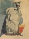 Натюрморт. Гипсовая маска, рожок канделябра. 1885.