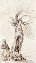 Дерево и фигура; зарисовка в Хэме, Суррей