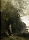 Крестьянка, пасущая корову у опушки леса