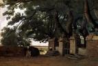 Ворота в тени деревьев
