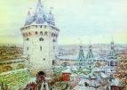 Семиверхая угловая башня Белого города в XVII веке. 1924