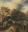 Пейзаж с дюнами и деревьями