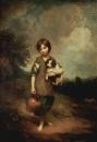 Деревенская девочка с собакой и кувшином